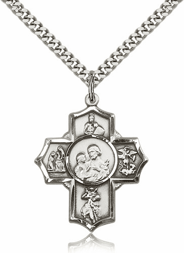 Bliss Manufacturing Firefighter Sterling Silver 5-Way Cross Medal Necklace
