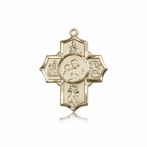 Bliss Manufacturing Firefighters 14kt Gold 5-Way Cross Medal Pendant