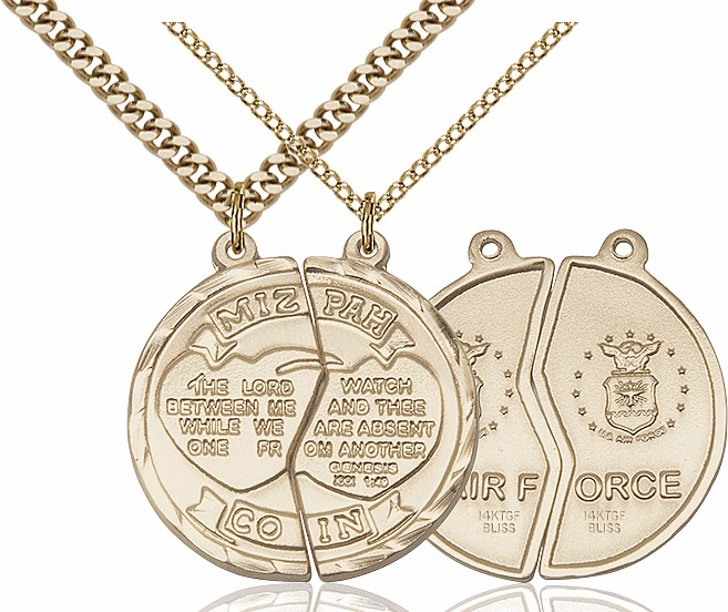 Bliss Manufacturing Gold-Filled Air Force Mizpah Coin Medal Necklace Set