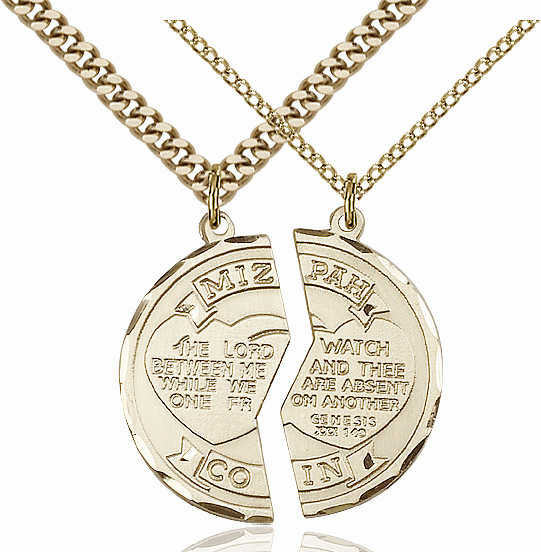 Bliss Manufacturing Gold-Filled US Army Mizpah Coin Medal Necklace Set
