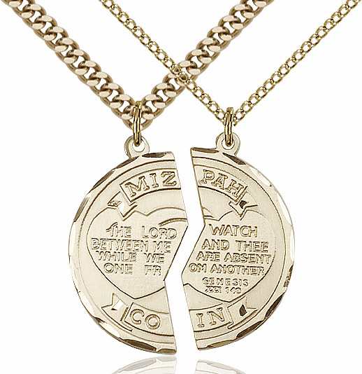 Bliss Manufacturing Gold-Filled US Coast Guard Mizpah Coin Medal Necklace Set