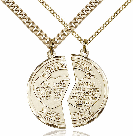 Bliss Manufacturing Gold-Filled US Navy Mizpah Coin Medal Necklace Set