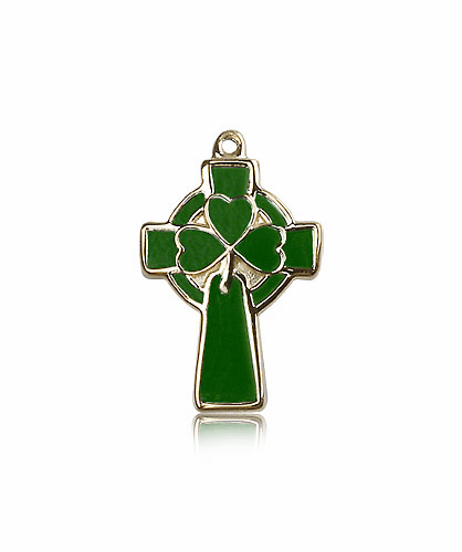 Bliss Manufacturing Green 14kt Yellow Gold Celtic Cross Pendant