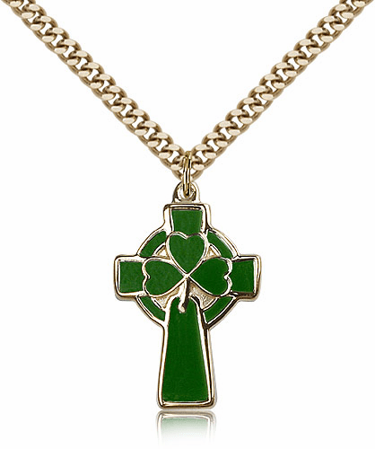 Bliss Manufacturing Green Gold-filled Celtic Cross Pendant w/24 inch Plated Heavy Curb Chain