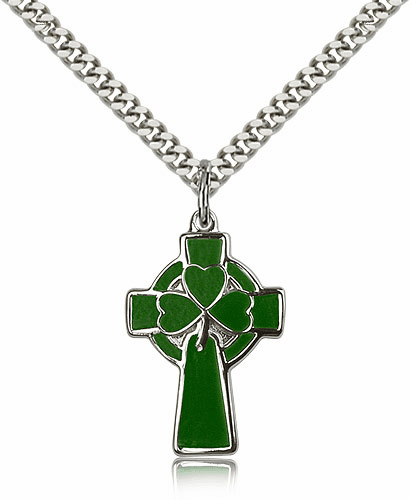 Bliss Manufacturing  Green Silver-filled Celtic Cross Pendant w/24 inch Plated Heavy Curb Chain