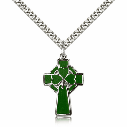Bliss Manufacturing Green Sterling Silver Celtic Cross Pendant w/24 inch Plated Heavy Chain