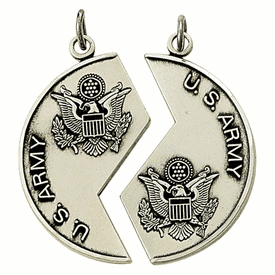 Singer His & Her Army Miz Pah Sterling Silver Medal Necklaces