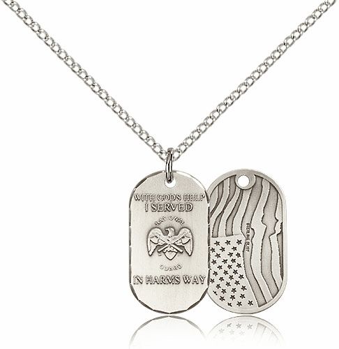 Bliss Manufacturing National Guard Dog Tag Medal Necklace w/American Flag