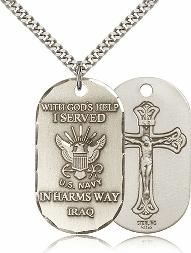 Bliss Manufacturing Navy Crucifix Dog Tag Necklace