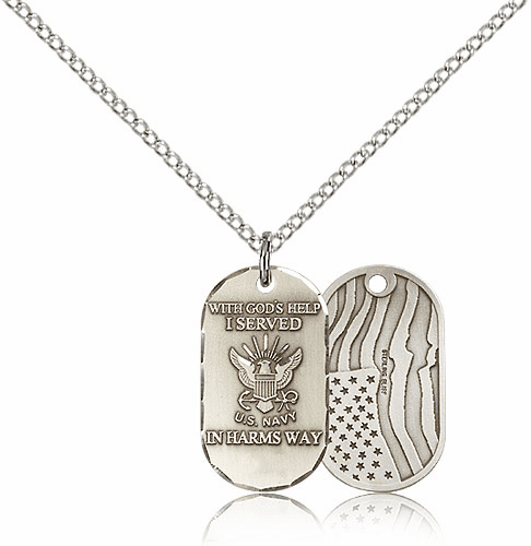 Bliss Manufacturing Navy Dog Tag Medal Necklace w/American Flag