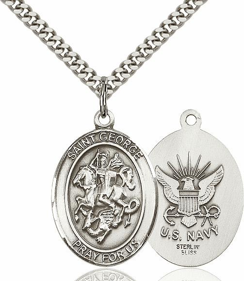 Bliss Manufacturing Pewter St George Navy Pendant Necklace