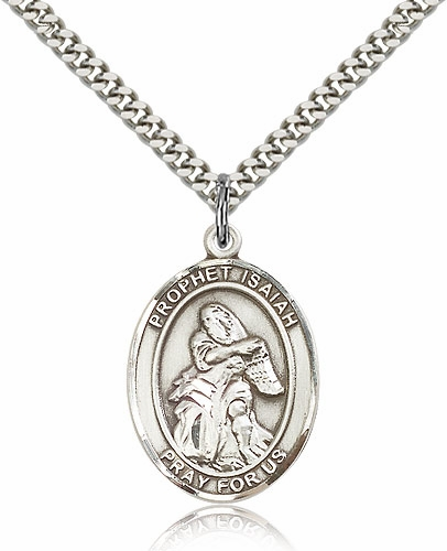 Bliss Manufacturing Prophet Isaiah Silver-filled Medal Necklace