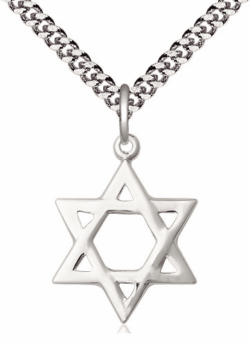 Bliss Manufacturing Silver-filled Star of David Medal Necklace