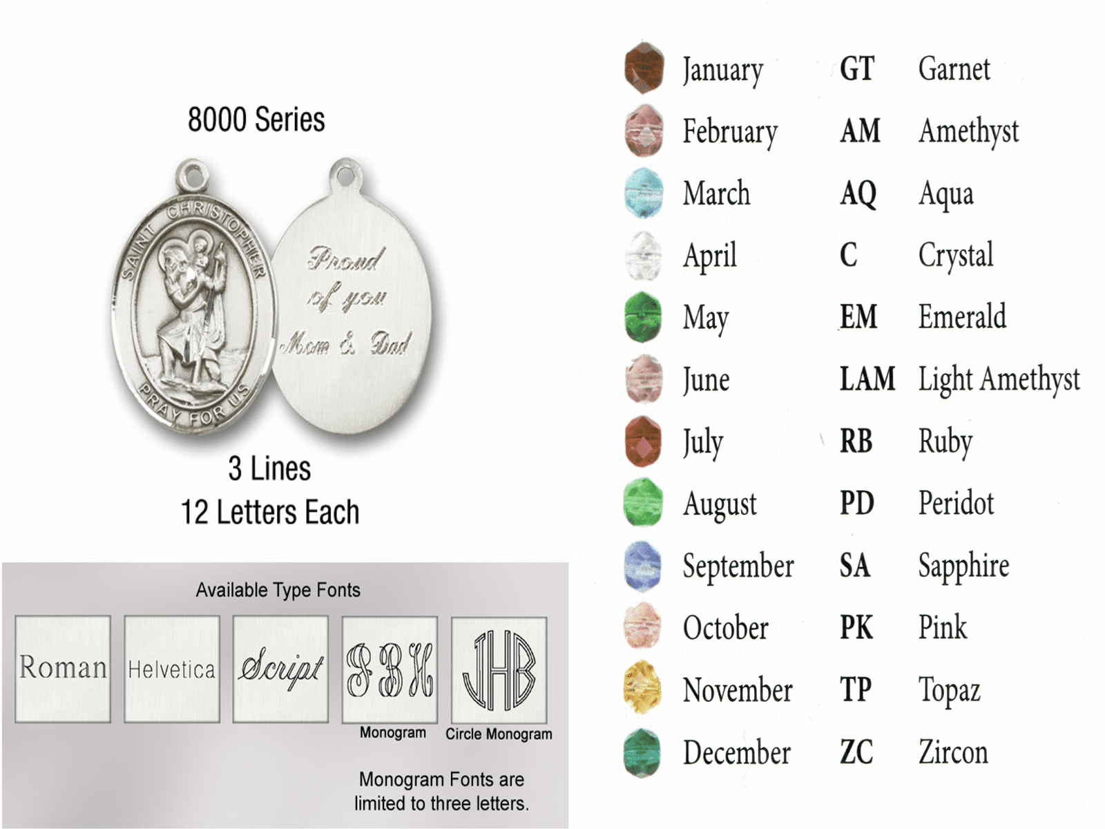 Bliss Manufacturing Silver-plated Patron Saint Rosary Engraving and Color Options