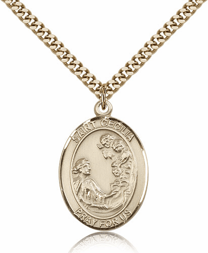 Bliss Manufacturing St Cecilia Patron Saint Gold-filled Medal Necklace
