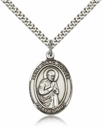 Bliss Manufacturing St Isaac Jogues Silver-filled Medal Necklace