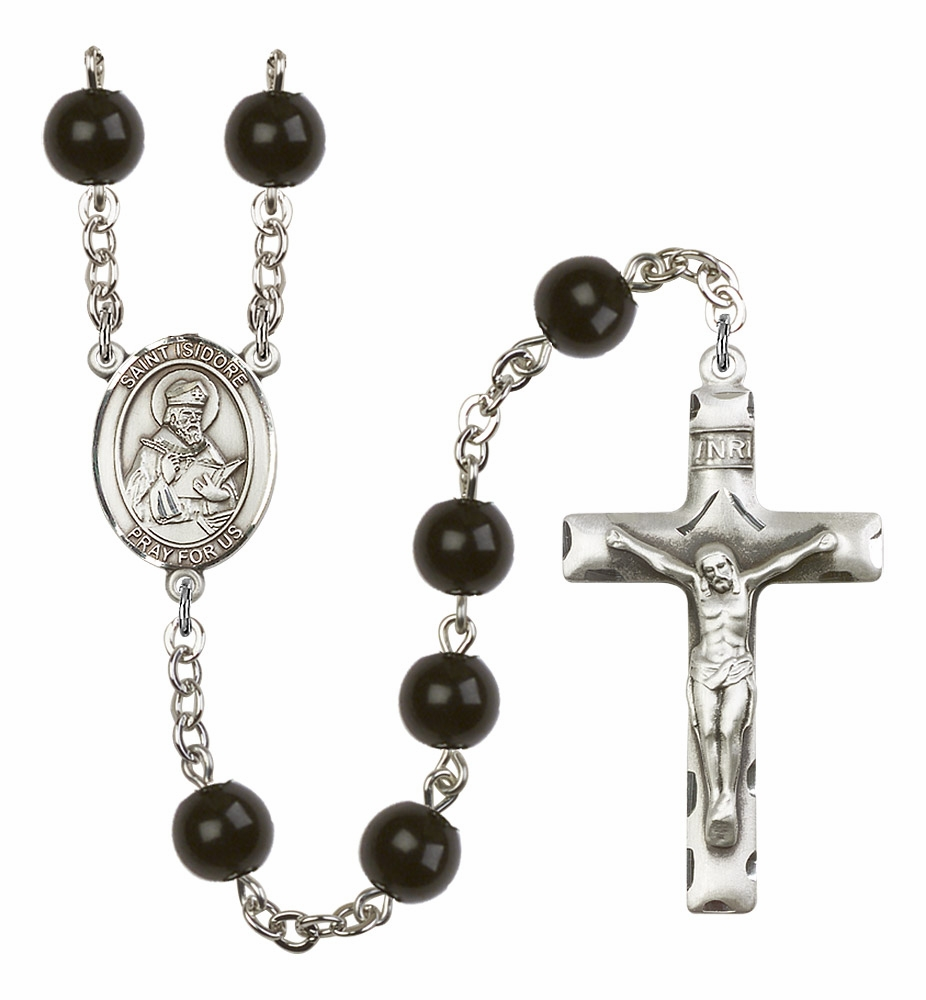 Bliss Manufacturing St Isidore of Seville 7mm Black Onyx Rosary