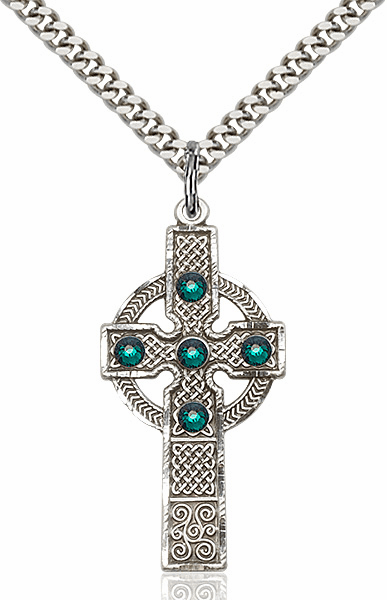 Bliss Manufacturing Sterling Emerald Swarovski Kilklispeen Cross w/Chain Necklace