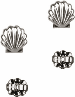 Bliss Manufacturing Sterling Silver Baptism Shell Post Earrings