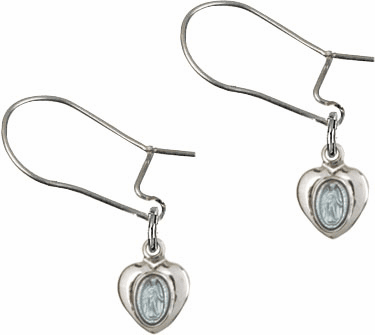 Bliss Manufacturing Sterling Silver Blue Miraculous Heart Medal Dangle Earrings