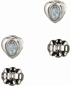 Bliss Manufacturing Sterling Silver Blue Miraculous Heart Medal Post Earrings