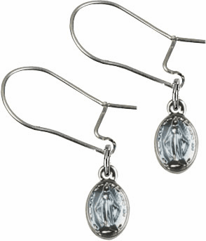 Bliss Manufacturing Sterling Silver Blue Miraculous Medal Dangle Earrings