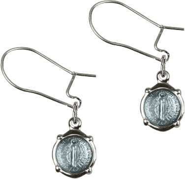 Bliss Manufacturing Sterling Silver Blue Round Miraculous Medal Dangle Earrings