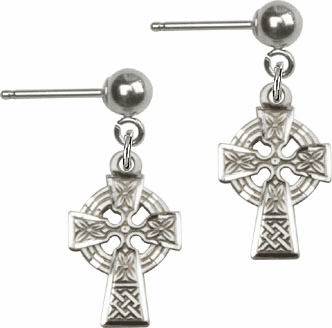 Bliss Manufacturing Sterling Silver Celtic Cross Ball Post Earrings