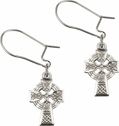 Bliss Manufacturing Sterling Silver Celtic Cross Dangle Earrings