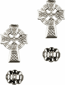 Bliss Manufacturing Sterling Silver Celtic Cross Post Earrings