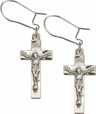 Bliss Manufacturing Sterling Silver Crucifix Cross Dangle Earrings