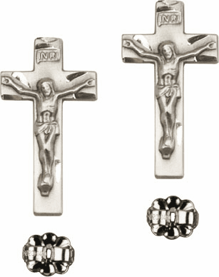 Bliss Manufacturing Sterling Silver Crucifix Cross Post Earrings