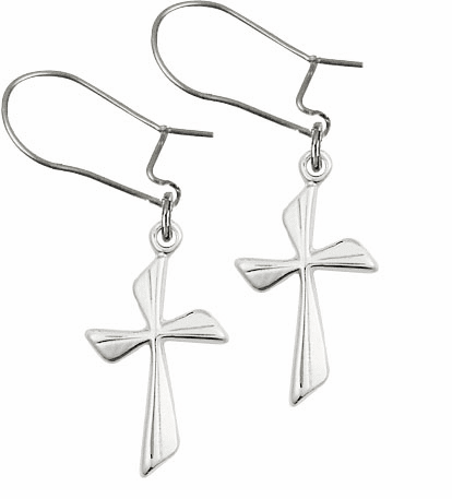 Bliss Manufacturing Sterling Silver Flared Cross Dangle Earrings