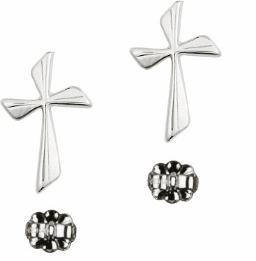 Bliss Manufacturing Sterling Silver Flared Cross Post Earrings
