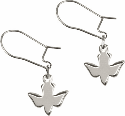 Bliss Manufacturing Sterling Silver Holy Spirit Dove Dangle Earrings