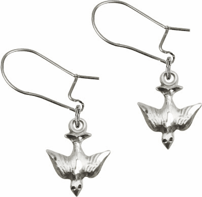 Bliss Manufacturing Sterling Silver Holy Spirit Dove Shaped Dangle Earrings