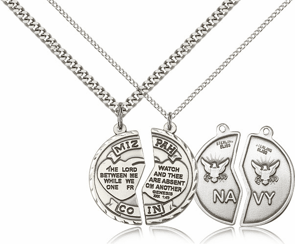 Bliss Manufacturing Sterling Silver Medal US Navy Mizpah Necklaces