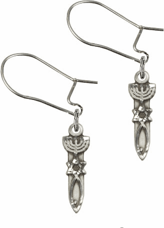 Bliss Manufacturing Sterling Silver Menorah with Star and Fish Dangle Earrings