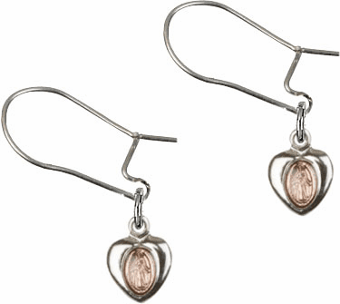 Bliss Manufacturing Sterling Silver Pink Miraculous Heart Medal Dangle Earrings