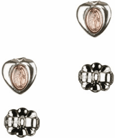 Bliss Manufacturing Sterling Silver Pink Miraculous Heart Medal Post Earrings