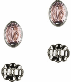 Bliss Manufacturing Sterling Silver Pink Miraculous Medal Post Earrings