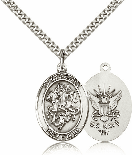 Bliss Manufacturing Sterling Silver St. George Navy Pendant Necklace