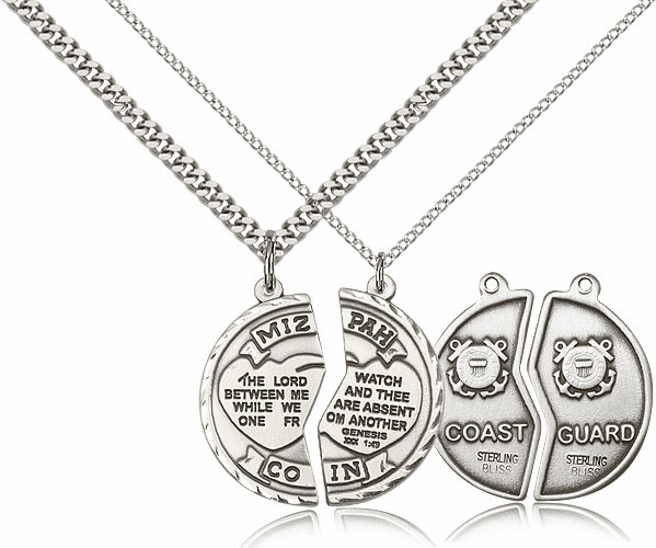 Bliss Manufacturing Sterling Silver US Coast Guard Mizpah Medal Necklaces