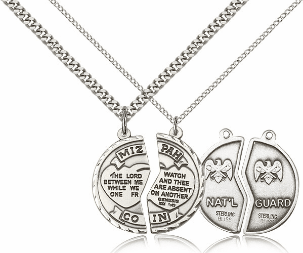 Bliss Manufacturing Sterling Silver US National Guard Mizpah Necklaces