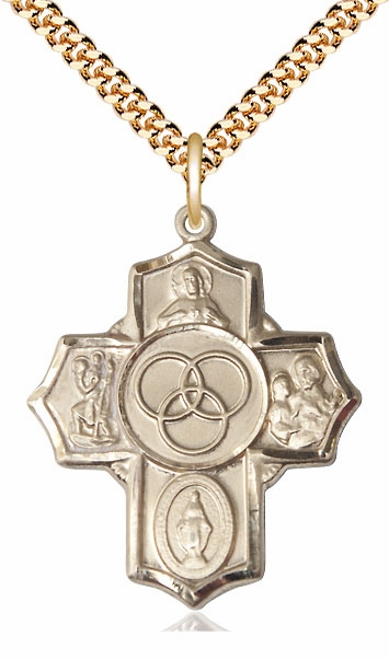 Bliss Marriage/Family 5-Way Cross 14kt Gold-Filled Necklace