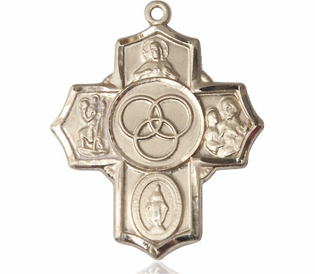 Bliss Marriage/Family 5-Way Cross 14kt Gold Pendant