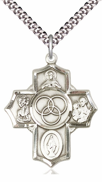 Bliss Marriage/Family 5-Way Pewter Cross Medal Necklace