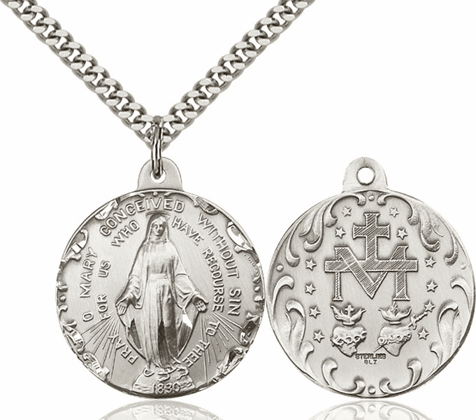 Bliss Mary Immaculate Conception Sterling Medal Necklace