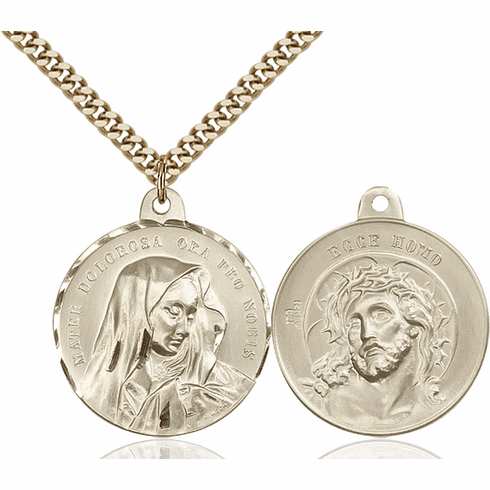 Bliss Mater Dolorosa and Jesus Ecce Homo Gold-filled Medal Necklace