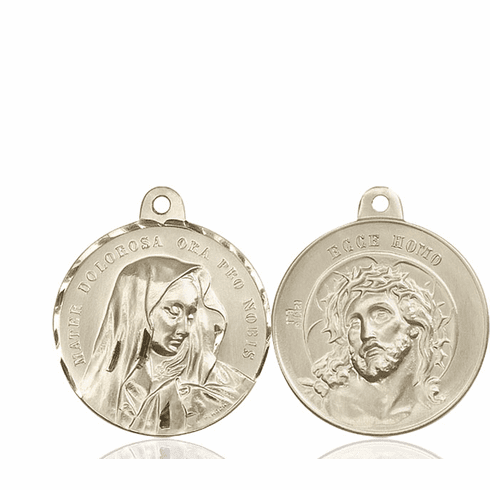 Bliss Mater Dolorosa and Jesus Ecce Homo Sterling Medal Necklace